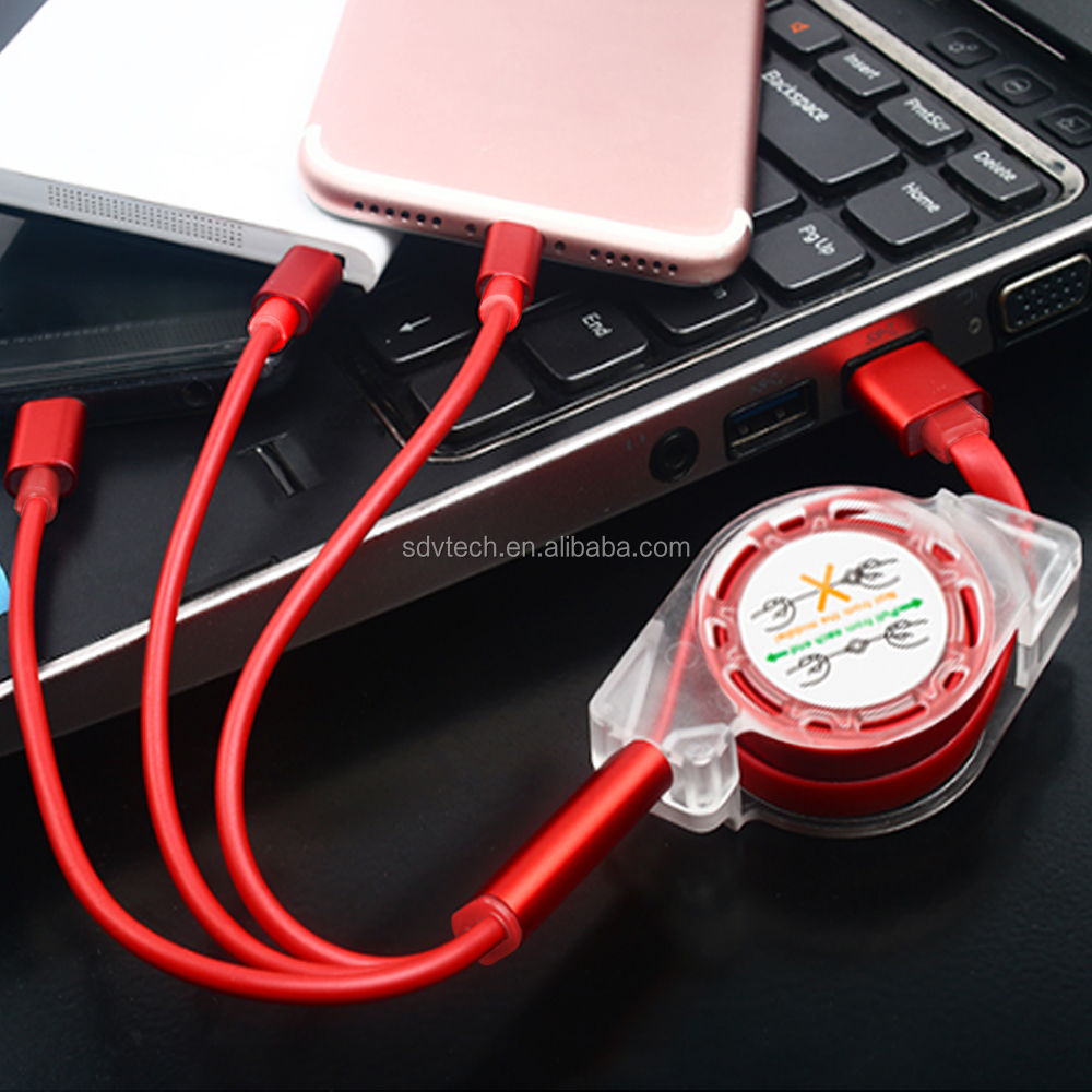 New Arrivals 2018 Metal Connector Telescopic 3 in 1 USB Charging Cable