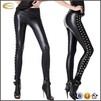China Oem Grosir Womens Punk Terlihat Basah Melar Tight Celana Kulit Imitasi Legging Kulit Buy Celana Kulit Legging Celana Ketat Product On Alibaba Com