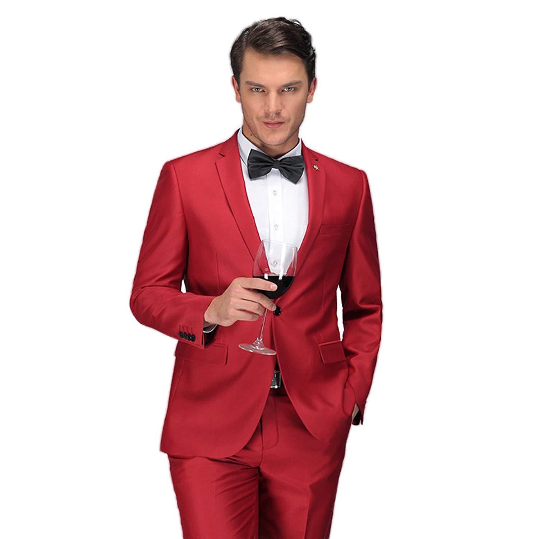28cc3990800c Get Quotations · Mens Red Suits Tuxedo Slim Fit Classic 2 Piece Suit Set  for Men