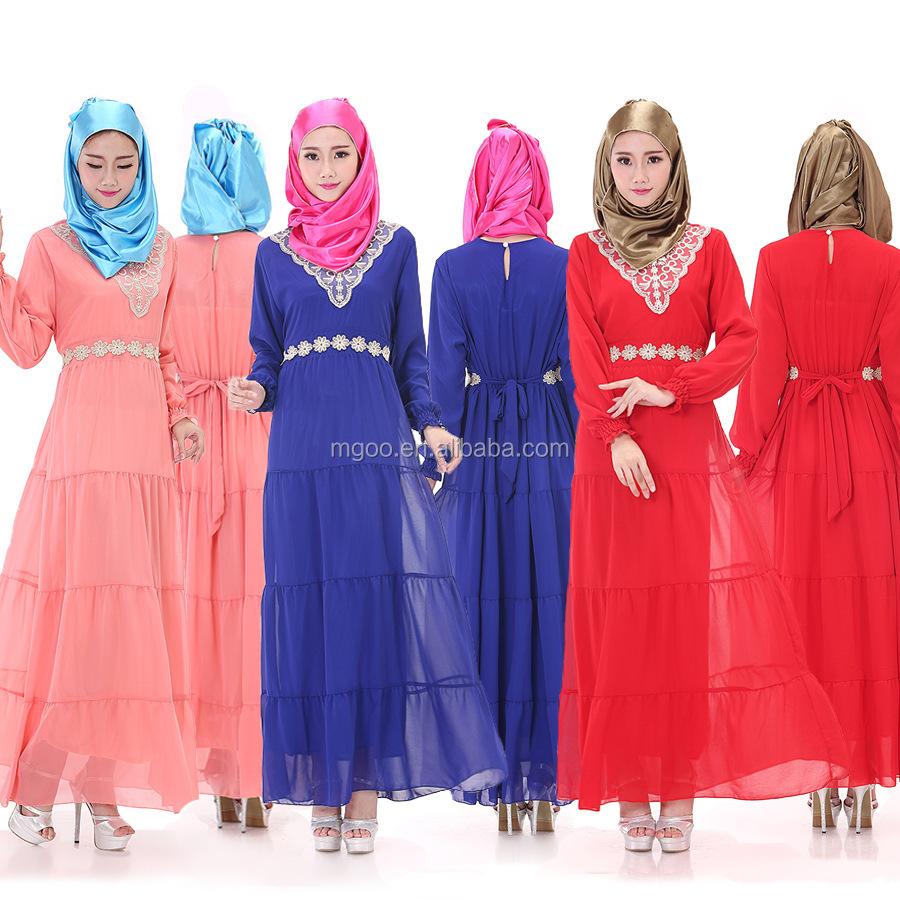 2055b008f4 Stock al por mayor rojo Kaftan de gasa vestido de Abaya bordado a mano  imperio islámico
