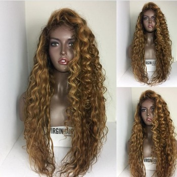 Blonde Kinky Curly Real Brazilian Hair Asian Women Hair Wig With