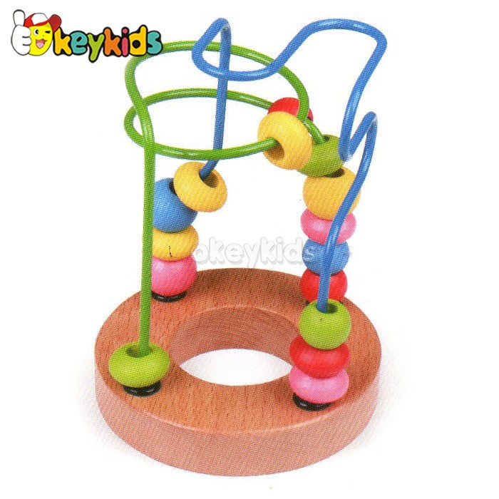Wholesale lovely string animals beads toy wooden beads cube for children W11B083