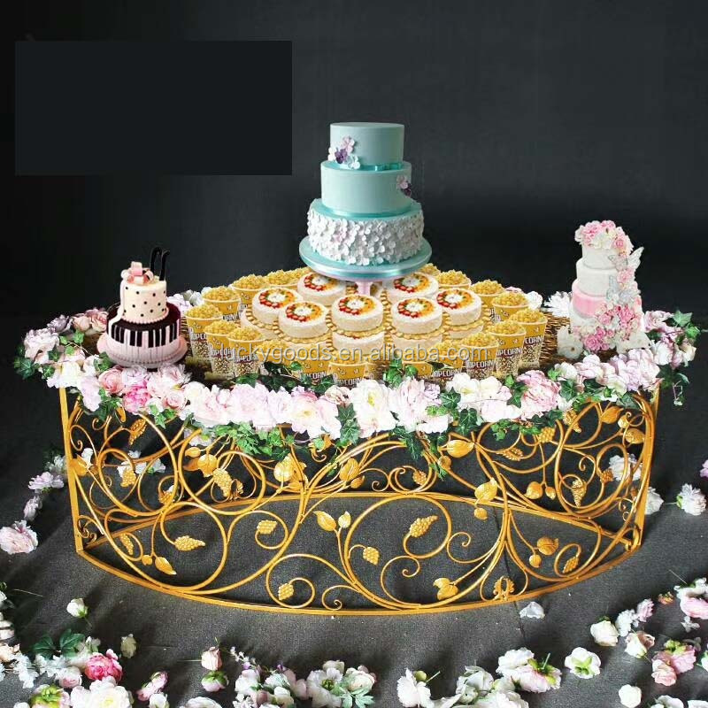 LDJ770 elegant hot sale gold plating party cake table wholesale