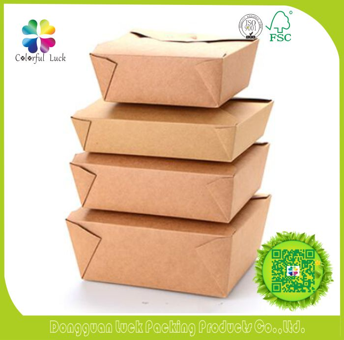Foldable Custom Size & Printed Food Grade Kraft Paper Lunch Boxes Take Out Food Container