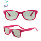 Fashion style pink folding plastic 3d glasses rectangle Polarized 3d Glasses for Adults and Kids