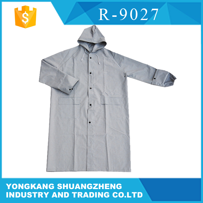 0.32mm PVC grey one piece long bomber jacket