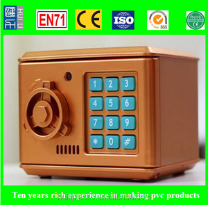 promotion item eco-friendly money box, password code pvc money bank, oem plastic money safe box