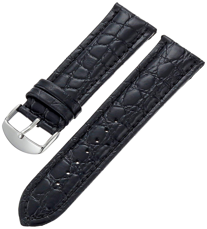 Hadley-Roma Men's MSM907RA-240 24-mm Black Genuine Leather WatchStrap