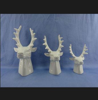 Wholesale Beautiful Ceramic Deer Head With Antler Laptop Home Decor 3 Sets Buy Ceramic Deer Antler Home Decor Table Top Decoration Product On