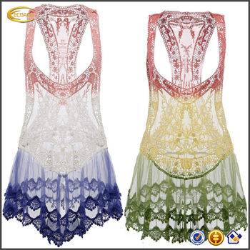 Oem Wholesale Strap Gradient Lace Crochet Hollow Bikini Cover Up