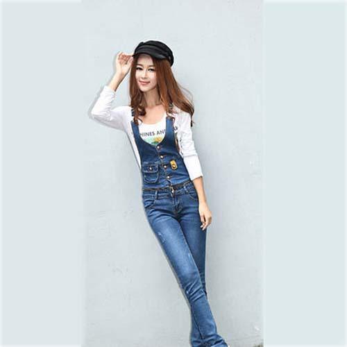 hot new 2014 spring fashion slim denim bib overalls women ...