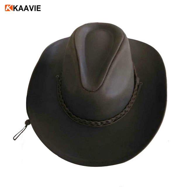 Wholesale Western Brown Genuine Leather Cowboy Hat With Band - Buy ... 33e84eb62577