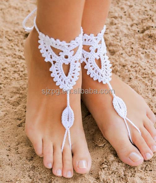 Häkeln Barfuß Sandalen Fußkettchen Badeschuhe Hand Schmuck Häkeln