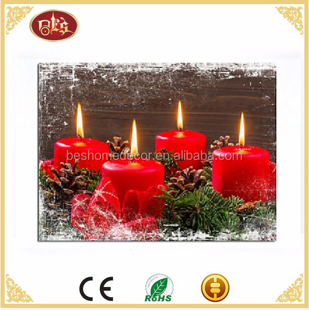Christmas decoration Candle light up wall art flickering led canvas pictures
