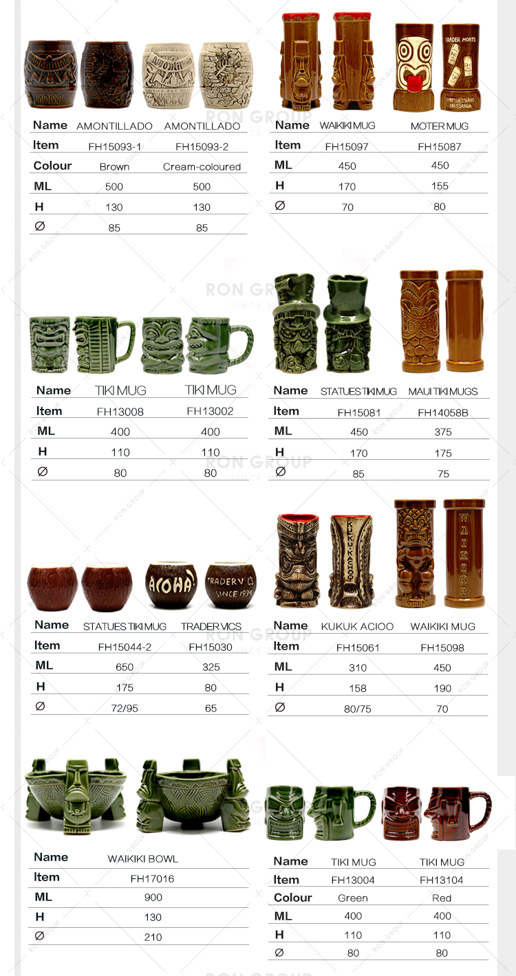 El yapımı boyama diiference şekli tasarım seramik tiki kupa için pub/parti