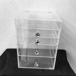 Easy sell multifunctional acrylic beauty cube organizer with clear hinge