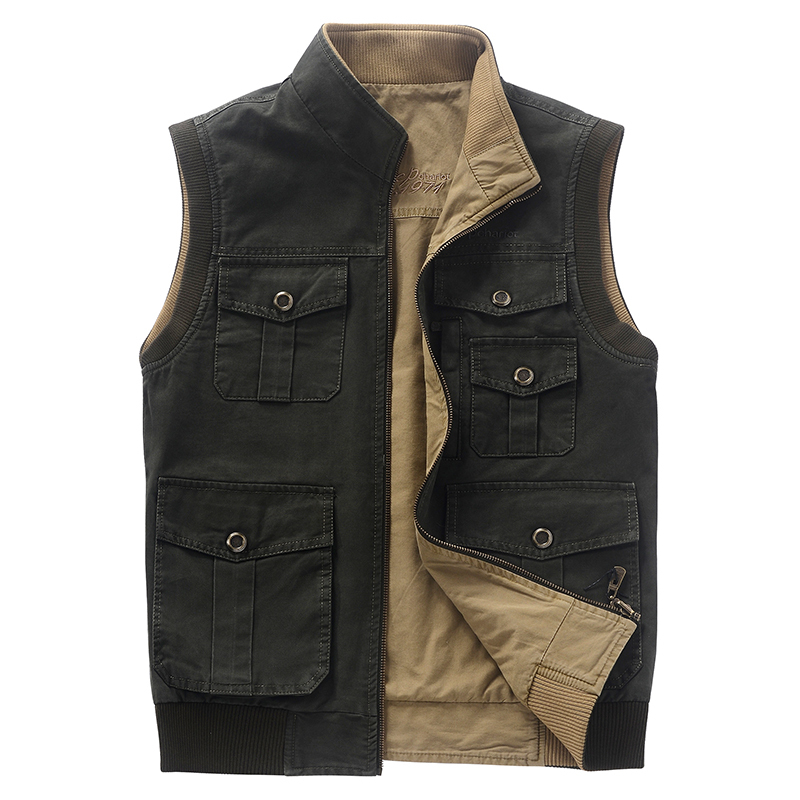 Double-sided wear vest for men chalecos hombre mens outdoor camping hunting photography vest with many multi pockets vest