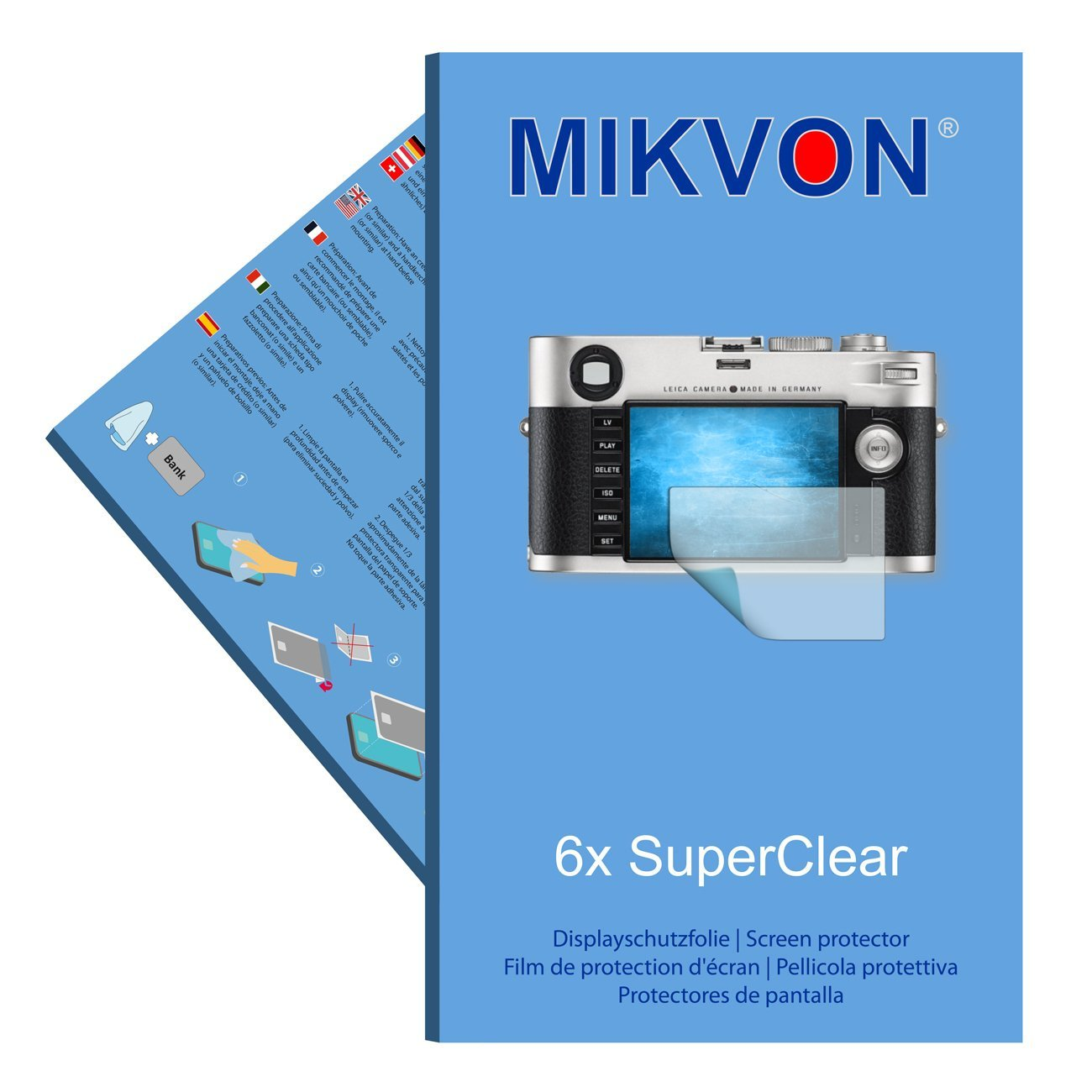 6x Mikvon films screen protector SuperClear for Leica M - transparent - Made in Germany