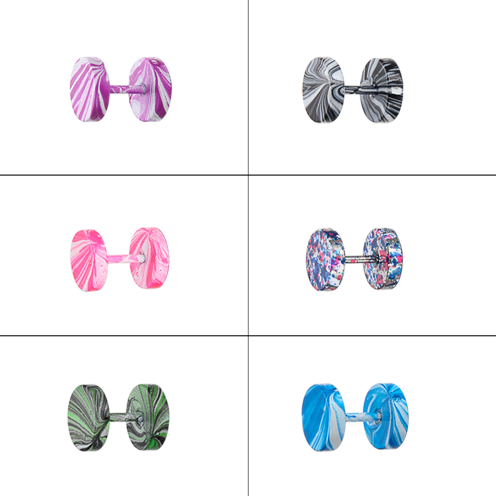Wholesale Fashion Mix Color  Stainless Steel Earrings Women Men's Barbell Dumbbell Punk Gothic Stud Earring For men Women