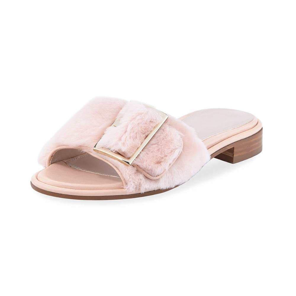 Big Size Buckle Fur Slide Sandal Furry Slides