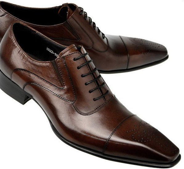 2015 Brand luxury Brown Black smart pointed toe genuine leather formal men dress shoe flats for wedding office business shoes