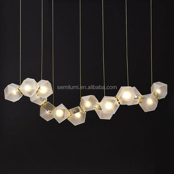 Post Modern Milk White Gl Multihead Creative Dna Pendant Light For Loft Dining Room