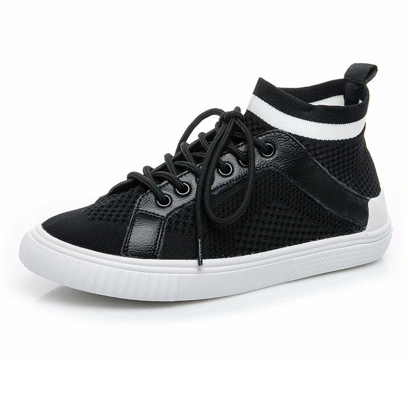 leather like up net sock shoes ladies cloth fly platform lace weave casual low genuine top ventilate B8Ax5qwHn