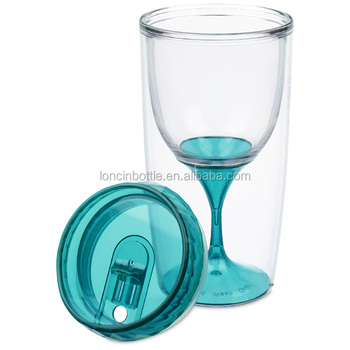 Double Walled Adult Plastic Portugal Wine Glass With Lidinsulated