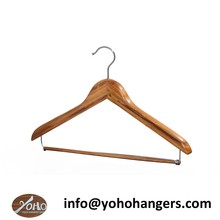 YOHO ECO Friendly Bamboo Suit Hanger with Locking Bar for Clothes