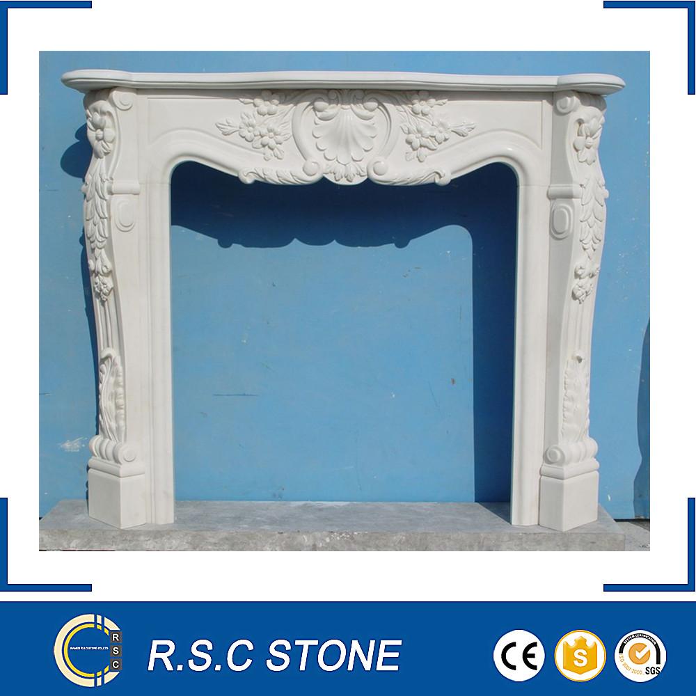 Estilo francés tallado chimenea de mármol blanco en la promoción Fabricantes de fabricación, proveedores, exportadores, mayoristas