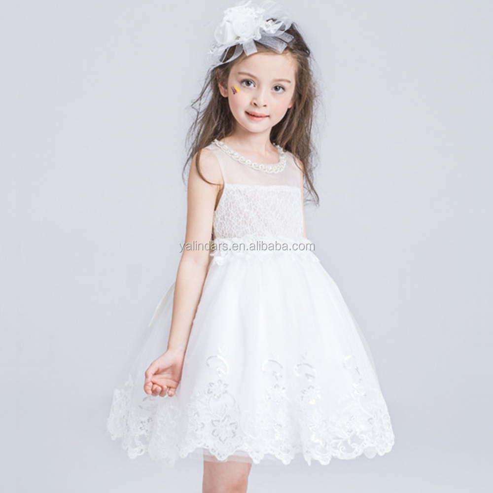 Puffy Kids Purple and White Wedding Dresses Flower Girls Princess Dress