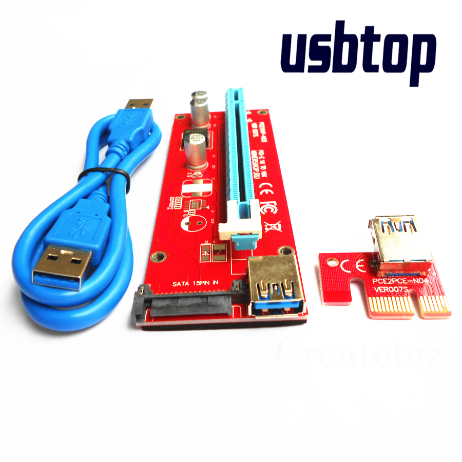 Fast Free Shipping 007S PCIe PCI-E Riser Card USB 3.0 Cable SATA 15PIN Power Riser Card for BTC Miner Machine