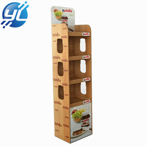POS food wood stand display point of sale MDF floor display stand at convenient store