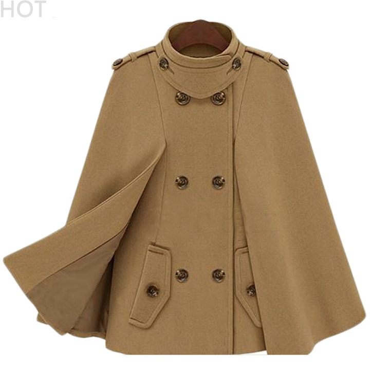 0b139a3cd61 Get Quotations · Poncho Cape Coat New Women Warm Woolen Coats European  Double Breasted Cool Overcoat Fashion Ladies Turtleneck