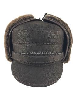 Genuine Shearling Sheepskin and Leather Captain Elmer Fudd Trapper Fur Hat  - Brown ear flap 0ca46826caf6