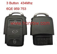 High Quality VVW polo key 3 Button remote key for vw key codes number is 6QE 959 753 434mhz