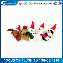 2016 hot christmas cute plush stuffed finger puppets toy