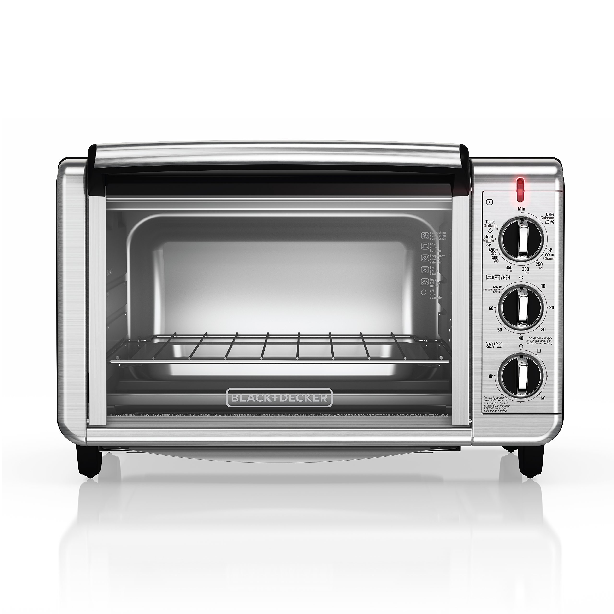 TO2050S BLACK+DECKER 6-Slice Convection Countertop Toaster Oven Stainless Steel//Black