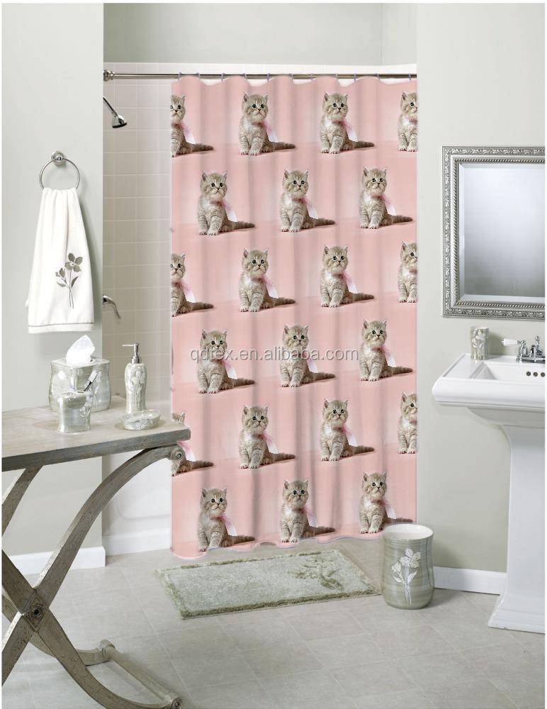 S12161 gato encantador diseño cortina de baño, hotel impresa ...