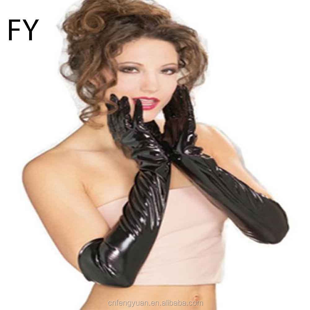 FY fashion 1 Pair New 2019 Sexy Black Shiny Wet look Long PVC Glove for Women Ladies long sexy black Gloves
