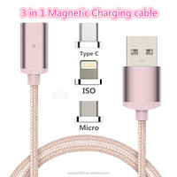 2017 New Arrival 3 In 1 Magnetic Charging Cable,USB Charging Cable for Iphone,Android,Type C Smart Phones