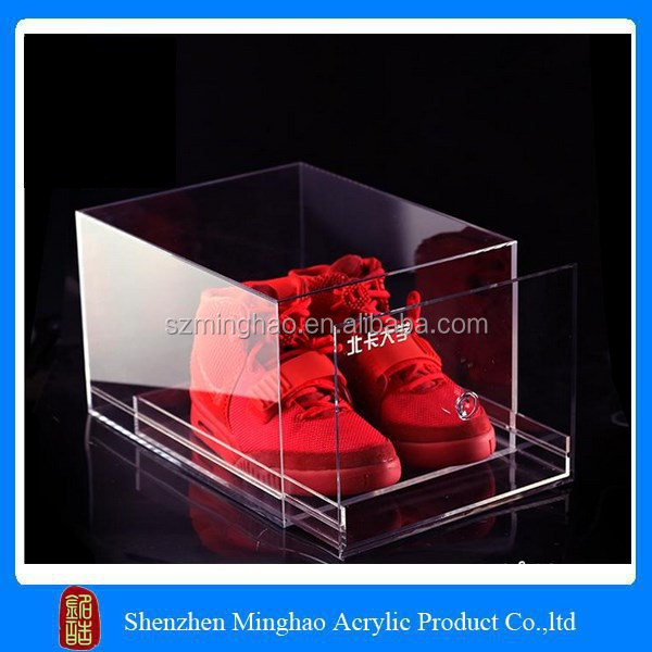Stackable clear acrylic plastic shoe drawer display case