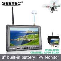 SEETEC fpv rc 8 inch built-in receiver/recorder 5.8Ghz 32 channels portable dvr lcd monitor no blue screen quad copter gps