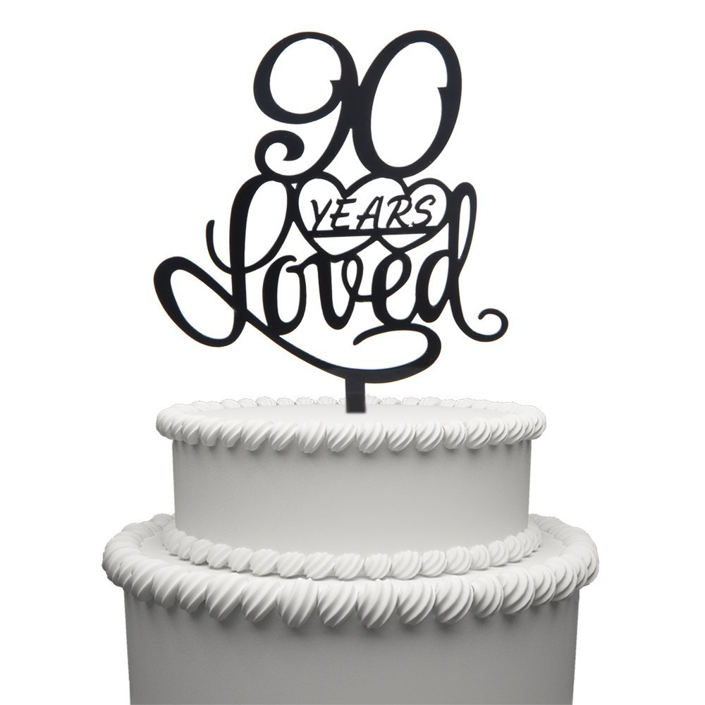 90 Years Loved Cake Topper For Birthday 90TH Wedding Anniversary Black Acrylic Party Decoration