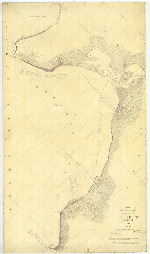Vintography 24 x 36 Giclee Print Nautical Map Image Useless Bay 1872 NOAA 50a