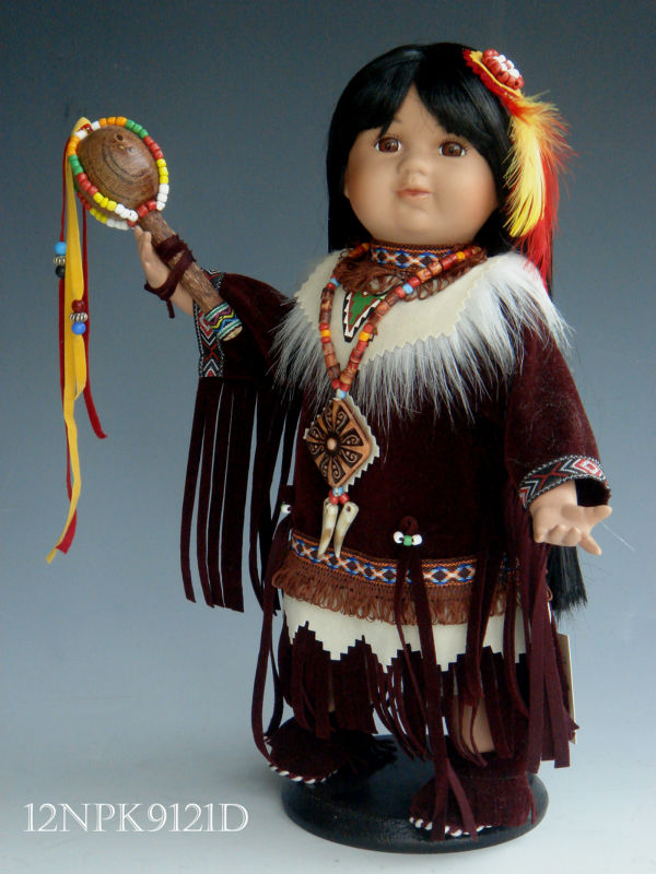 "New Native 12"" American Girl in porcelain doll"