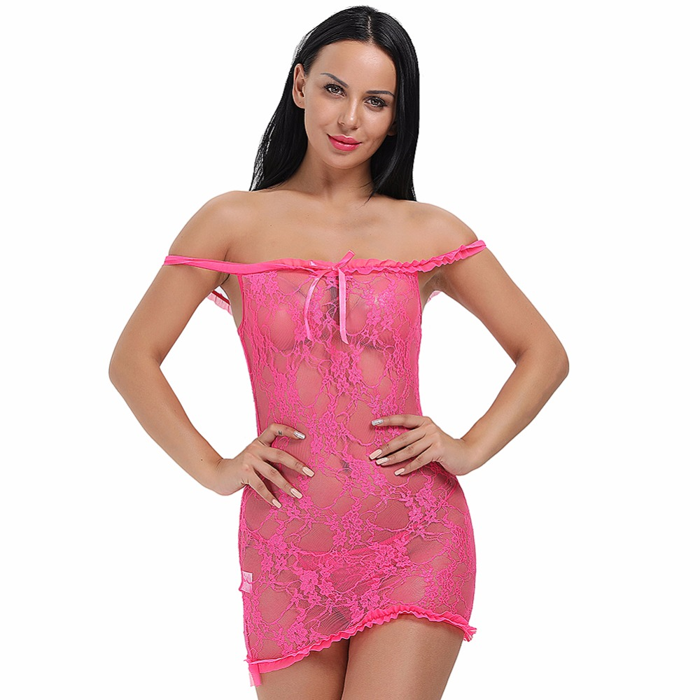 High Elasticity Valentine Lace Underwear Sexy Adult Babydoll Suit Women's Lingerie Dress