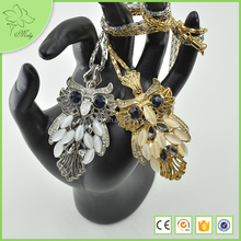 New hot fashion styles gold color rhinestones owl pendant necklace jewelry