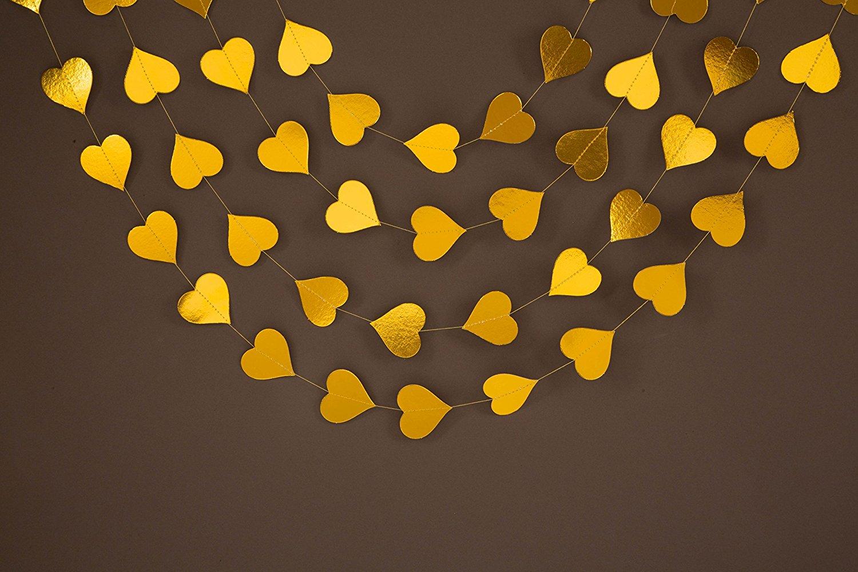 Gold Garland - Party Decoration - wedding decorations - gold decor - Wedding Decor - Heart Garland - Gold Birthday Garland - Wedding Garland