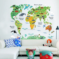 95*73CM removable kids world map with different animals wall sticker